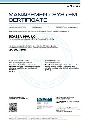 Certificato Mollificio Scassa ISO 9001